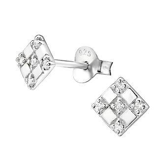 Square - 925 Sterling Silver Cubic Zirconia Ear Studs - W26031X