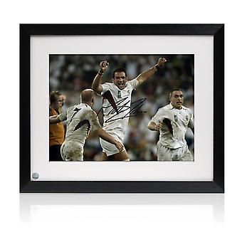 Martin Johnson underskrev England 2003 World Cup rugby Foto: den sidste fløjte. Indrammet
