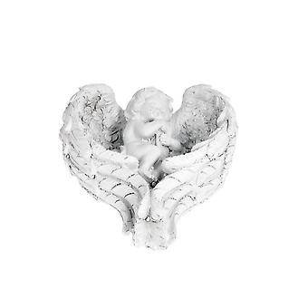 Engel in Flügeln weiß 10x11 cm