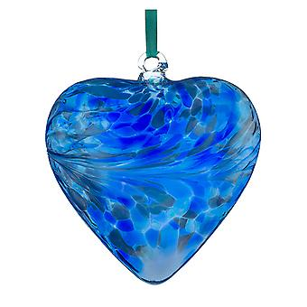 Sienna Glass 8cm Friendship Heart, Blue