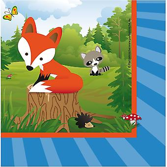 Fox Fox Party servetter 33x33 cm 20 Piece Schlauer Fuchsparty barnens födelsedag