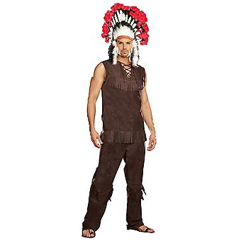 Chief Long Arrow Native American Indian Warrior Western Mens Costume