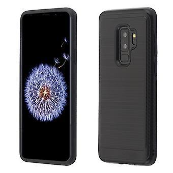 ASMYNA Czarna/Czarna szczotkowana hybrydowa osłona ochronna (z akcentem z włókna węglowego) dla Galaxy S9 Plus