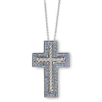 925 Sterling Silver Polished Spring Ring Dezembro CZ Cubic Zirconia Simulado Diamante Religious Faith Cross Colar 18