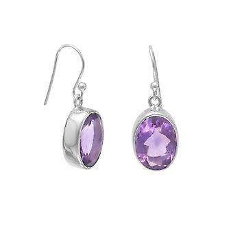 925 Sterling Silver Oval Faceted Amethyst French Wire Earrings Stones Are 14mmx10mm Jewelry Gifts for Women