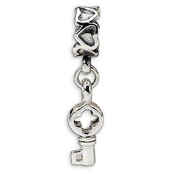 925 Sterling Silver Polished Reflections Key Dangle Love Hearts Bead Charm Pendant Necklace Jewelry Gifts for Women