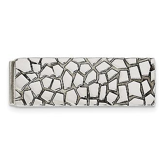 Stainless Steel Textured Polished Money Clip Jewelry Gifts for Men