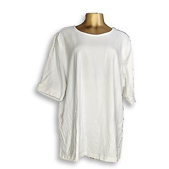Denim & Co. Women's Plus Top Perfect Jersey Pleated White A350024