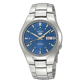 Seiko 5 automatische blauwe wijzerplaat zilver roestvrijstaal mannen ' s horloge