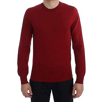 Dolce & Gabbana Red Cashmere Crew-neck Pullover Sweater -- TIT2815493