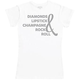Diamonds Lipstick Champagne Rock & Roll - Womens T-Shirt