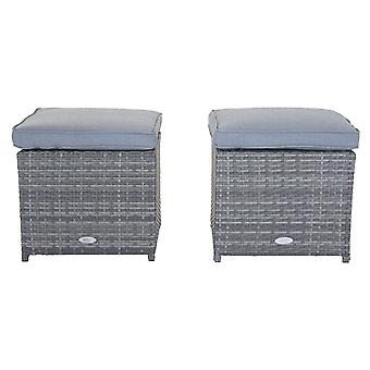 Charles Bentley Pair of Rattan Foot Stools Outdoor Garden Chair - Weatherproof - Fully Assembled in Grey / Natural