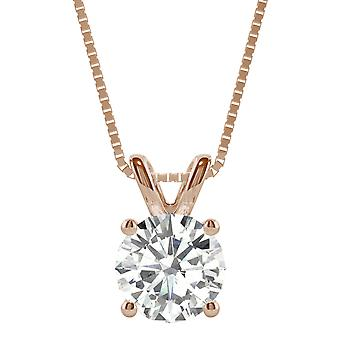 14 K Rose Gold Moissanite por Charles e Colvard 8 milímetros Redonda pingente de colar, 1,90 ct DEW