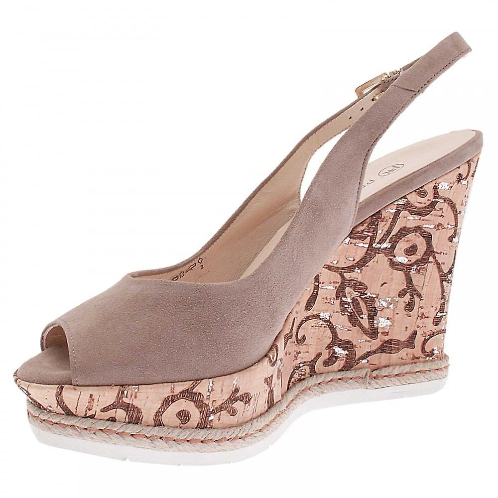 Peter Kaiser Regine Taupe Suede Cork High Wedge