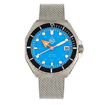 Bouclier Marius Bracelet Men-apos;s Diver Watch w/Date - Argent/Bleu