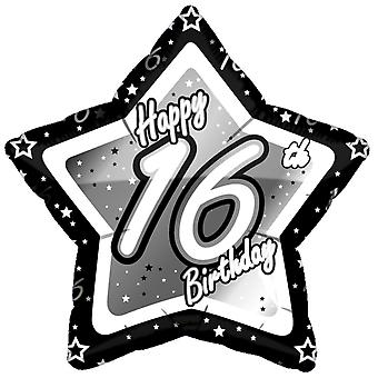 Creative Party Happy 16th Birthday Black/Silver Star Balloon