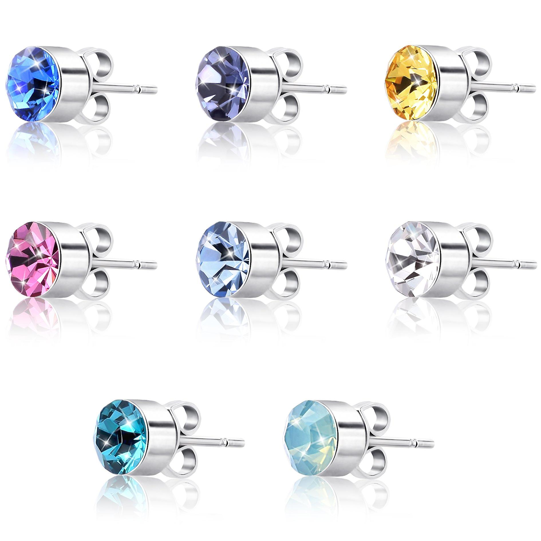 8 earrings set for women with swarovski crystal. rhodium plated. by 2splendid. gift box included. 8eqz016