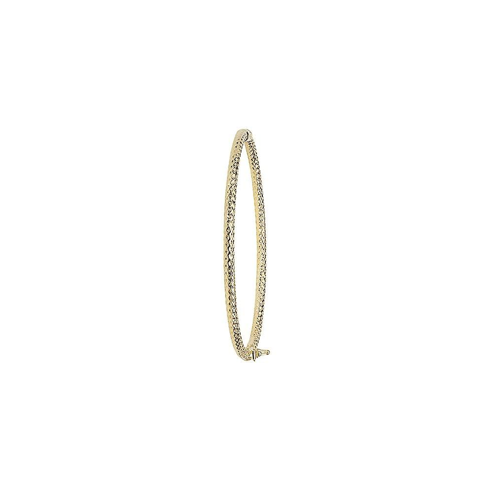 Eternity 9ct Gold Ladies Diamond Cut Oval Bangle