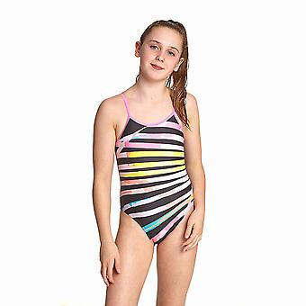 Zoggs Palms Girl's U Back One Pieces Swimsuit in Black / Multi Eco Fabric