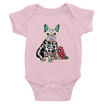 Frenchie Tag der Toten lustige Halloween Kostüm süße Baby Body Geschenk rosa
