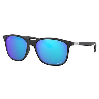 Ray-Ban RB4330CH zwart mat blauw Miroité gepolariseerd Chromance