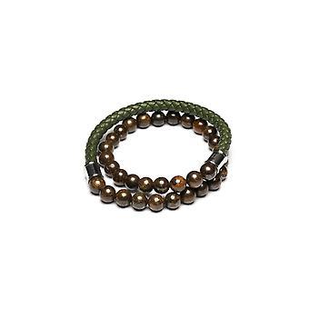 Gemini O4 Bracelet - Olympus Twin Jaspe Brown and Leather Tress Green Men