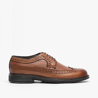Roamers James Mens couro rendas até Brogue Gibson Sapatos Brown