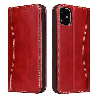 Pour iPhone 11 Case Red Fierre Shann Genuine Cowhide Leather Wallet Flip Cover