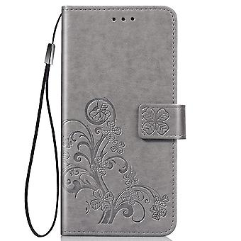 For iPhone 11 Case Gray Four-leaf Clover Emboss Pattern PU Leather Cover with Card & Cash Slots, Lanyard & Kickstand