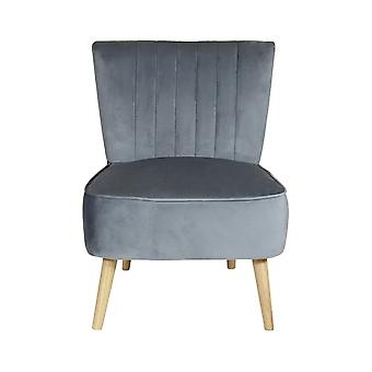 Charles Bentley Velvet Cocktail Occasion Accent Chair- Grey Solid Wood Legs Lounge Bedroom Garderoba Hallway W59 x D48 x H44 (cm)