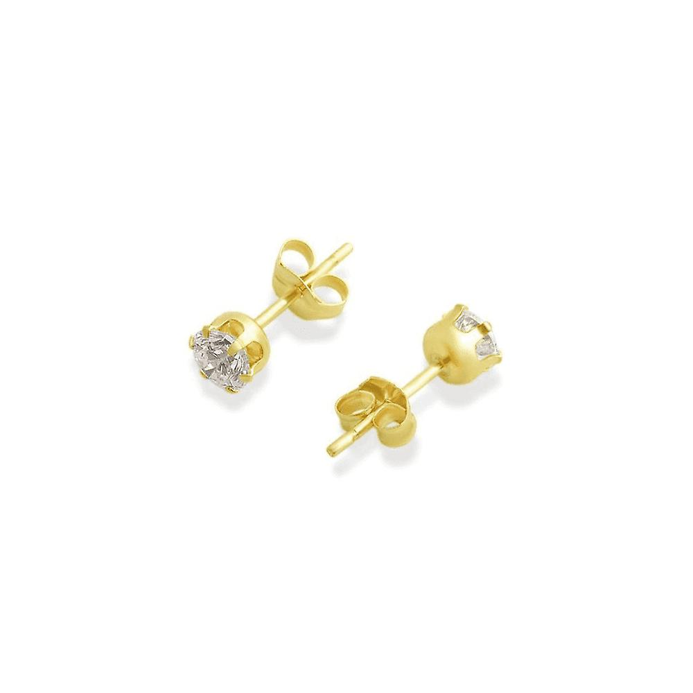 Eternity 9ct Gold 4mm Round Cubic Zirconia Stud Earrings