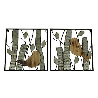 Rustic Birds and Branches 2 Piece Wood and Metal Wall Sculpture Set