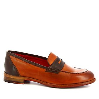Leonardo Shoes Women's handmade loafers shoes orange dark brown calf leather