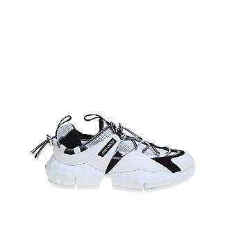 Jimmy Choo Diamondtrailmehlwhite Men's White/black Fabric Sneakers