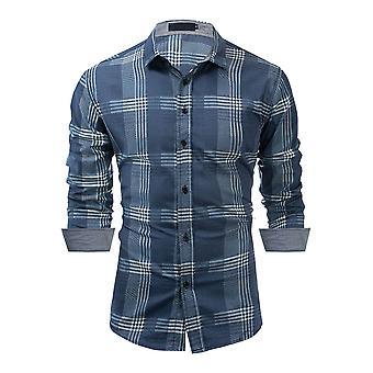 Allthemen Men's Grilli paita Loose Fit Sininen Pitkähihainen Denim Pusero