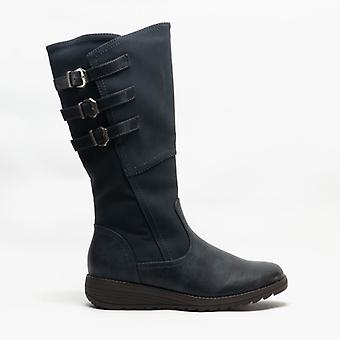 Cipriata Italania Ladies Triple Buckle High Leg Boot Navy