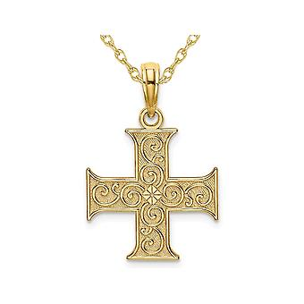 Greek Cross Pendant Necklace in 14K Yellow Gold with Chain