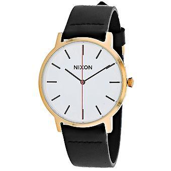 Nixon Men's Porter reloj blanco de cuero - A1058-3157