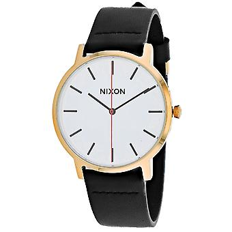 Nixon Men's Porter Leather White Watch - A1058-3157