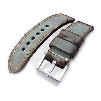 Strapcode leather watch strap 24mm miltat handmade vintage green calf leather watch band, hand painted, hand stitches
