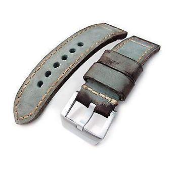 Strap strap de montre en cuir Strapcode 24mm miltat maison de montre en cuir de veau vert vintage, peint à la main, points de main