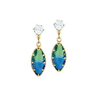 Eternal Collection Tenderness Green And Blue Two Tone Crystal Marquise Drop Clip On Earrings