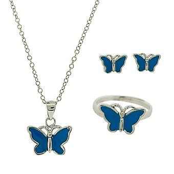 Jo For Girls Sterling Silver Blue Butterfly Stud Earring, Ring & Necklace Set