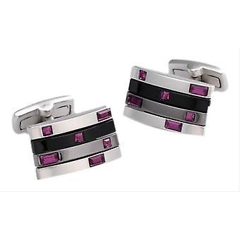 Duncan Walton Quire Amethyst Swarovski Crystal Cufflinks - Black/Silver/Purple