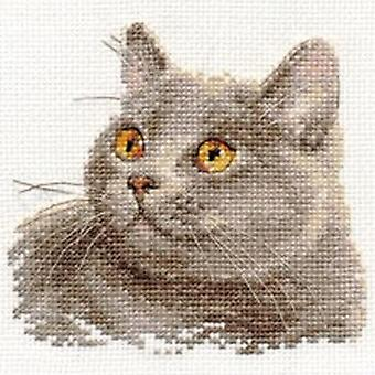 Kit Alisa Cross Stitch - Gato Britânico