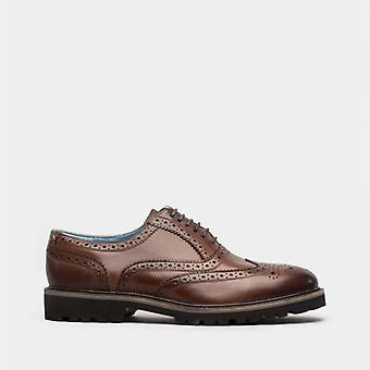 Oswin Hyde Boston Mens Leather Oxford Brogue Shoes Cognac