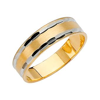 14k Ouro Amarelo e Ouro Branco 6mm Sparkle Cut Tapered Wedding Band Ring Size 10 Joias Presentes para Mulheres