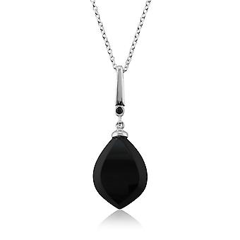 Art Deco Style Black OnyxCabochon & Black Spinel Pendant Necklace in 925 Sterling Silver 260N143903925