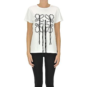 Loewe Ezgl248019 Women's White Cotton T-shirt