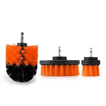 Electric Drill Cleaning Brush Set - Bathroom Surfaces Tub Shower Tile And Grout All Purpose Power Scrubber Cleaning Kit D30 Type - 3pcs Orange